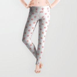 Blush Pink Stars on White Leggings