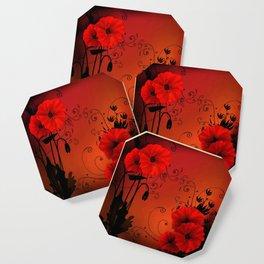 Poppy flowers, sunset Coaster