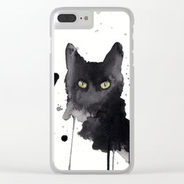 Black cat watercolor Clear iPhone Case