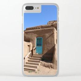 Taos Pueblo  Blue Door Clear iPhone Case