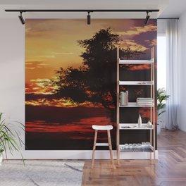 Baum im Abendrot Wall Mural