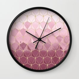 Pink gold geometric pattern Wall Clock