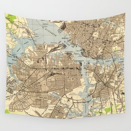 Vintage Norfolk & Portsmouth Virginia Map (1944) Wall Tapestry
