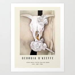 Poster-Georgia O'Keeffe-Cow skull with calico rose. Art Print