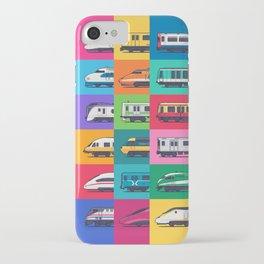 World Trains Grid Pattern iPhone Case