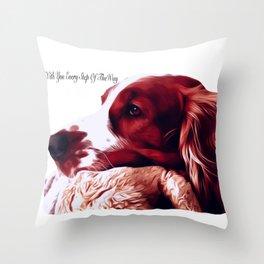 Welsh Springer Spaniel Portrait Throw Pillow
