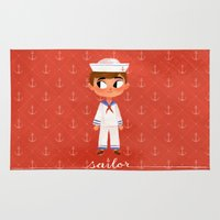 sailor Area & Throw Rugs featuring Sailor by Anoosha Syed