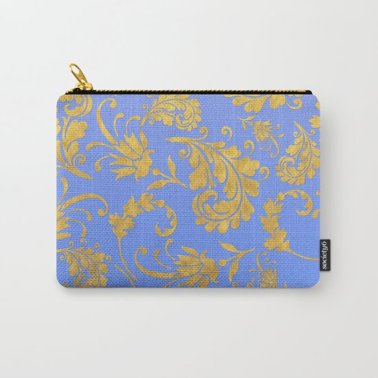 Queenlike- gold floral ornaments on blue backround-luxury pattern Carry-All Pouch