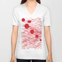 planets V-neck T-shirts featuring red planets by Loosso