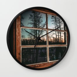 Lumberjack Cabin Window // Grainy Reflection of the Sunset and Trees Wall Clock