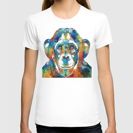 Colorful Chimp Art - Monkey Business - By Sharon Cummings T-shirt