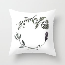 Yarrow, Sage, Lavender, Thyme Throw Pillow