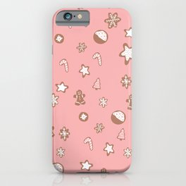 Christmas cookies pattern pink iPhone Case