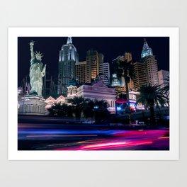 Light Streaks in Las Vegas, USA / Night City Series Art Print