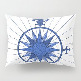 Nautical French Blue Compass Rose Pillow Sham