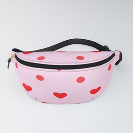 Pink & Red Heart Polka Dot Print Fanny Pack