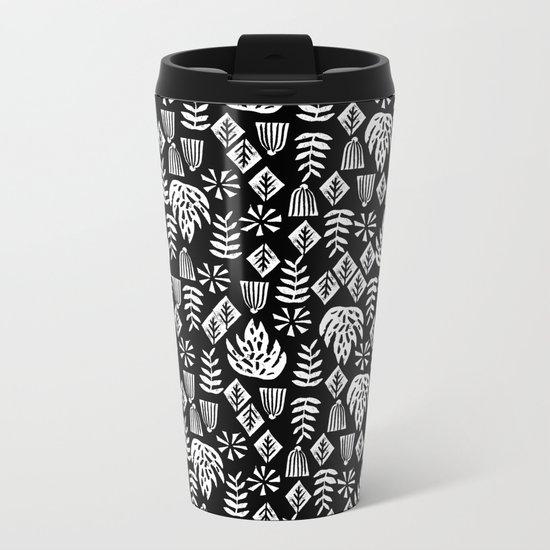 Tropical linocut tribal island pattern scandinavian art print black and white minimal Metal Travel Mug