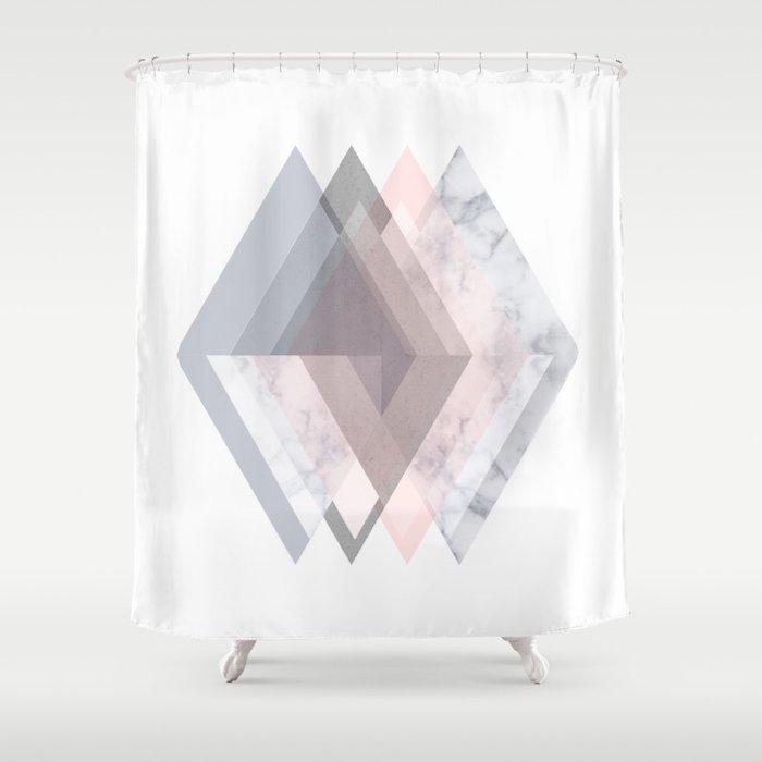 BLUSH MARBLE GRAY SCANDINAVIAN GEOMETRIC Shower Curtain