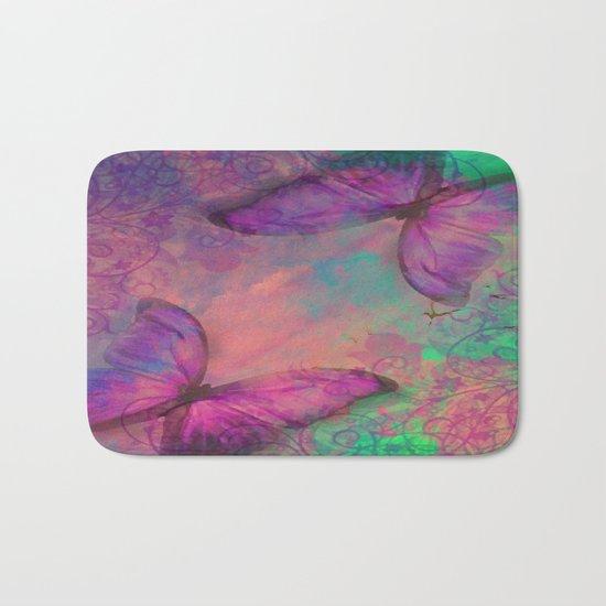 Butterfly Love Abstract Bath Mat