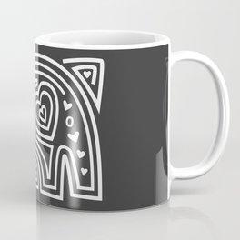 Mola Elephant (Black and White) Coffee Mug