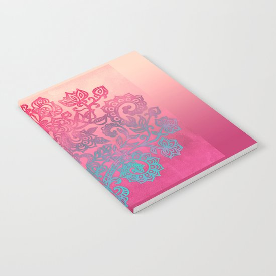 Ombre Canvas Folk Art Doodle in aqua, pink & peach Notebook