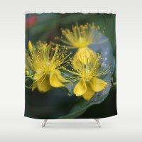 copenhagen Shower Curtains featuring Copenhagen Yellow by Abby Hoffman