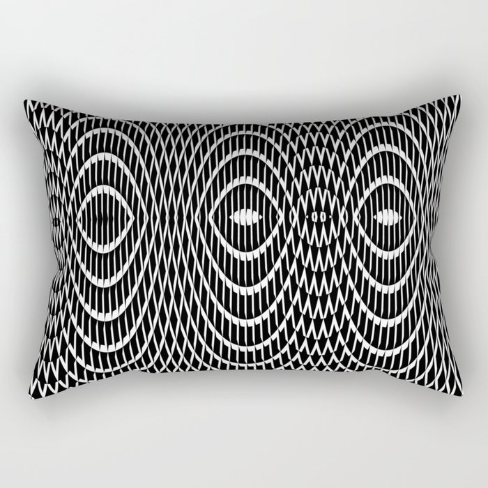 Black and white curvilinear design Rectangular Pillow