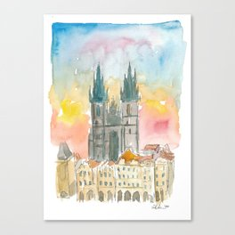 Tyn Cathedral In Prague Czech Republic Impressionistic View Canvas Print
