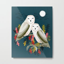 Two Owls by Andrea Lauren Metal Print