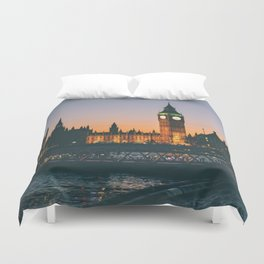 London during Sunset on the Water Duvet Cover