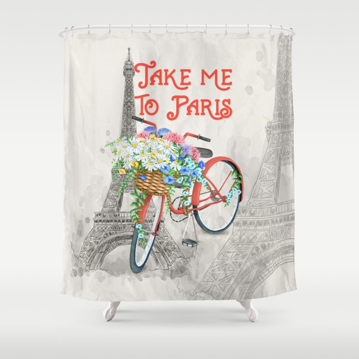 Vintage Red Bicycle with Flower Basket Paris Shower Curtain
