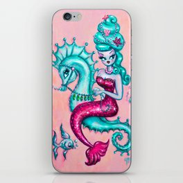 Mermaid with Candy Blue Bouffant Riding a Seahorse iPhone Skin