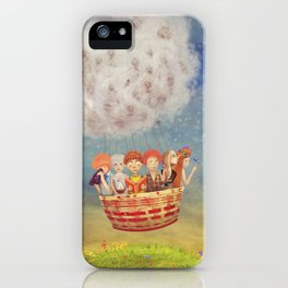 Happy children in the   air balloon in the sky - illustration art iPhone Case