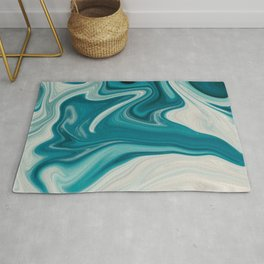 White & Teal Abstract Art Painting Rug