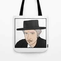 bob dylan Tote Bags featuring Bob Dylan by Whiteland