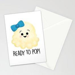 Ready To Pop - Popcorn Blue Bow Stationery Cards