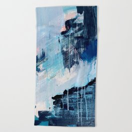 Vibes: an abstract mixed media piece in blues and pinks by Alyssa Hamilton Art Beach Towel