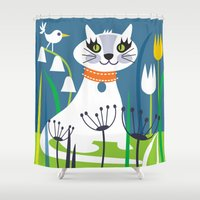 kitty Shower Curtains featuring KITTY by Shirley Copperwhite