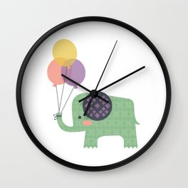 Elephant with Balloons Wall Clock