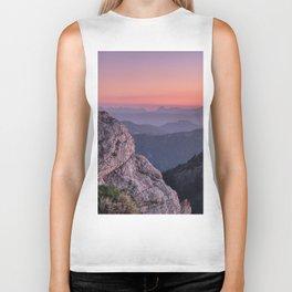 Misty Mountains At Sunset. Sierra Nevada Biker Tank