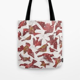 Snowy Cardinals Tote Bag