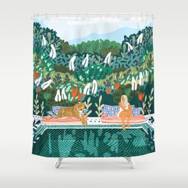 Chilling || #illustration #painting Shower Curtain
