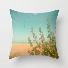 Flowers by the Sea Throw Pillow
