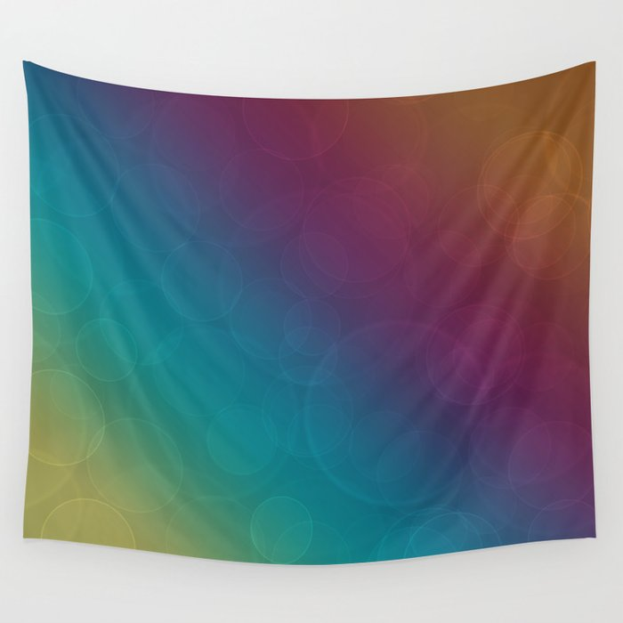 Bohek Bubbles on Rainbow of Color - Ombre multi Colored Spheres Wall Tapestry