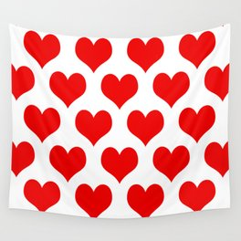 Holidaze Love Hearts Red Wall Tapestry