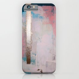 Morning Light: a minimal abstract mixed-media piece in pink gold and blue by Alyssa Hamilton Art iPhone Case