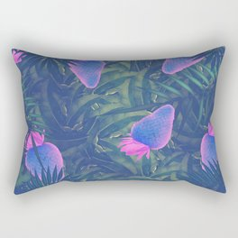Neon Strawberries in the Night #1 Rectangular Pillow