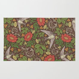Swallows with dandelions and roses on brown background Rug