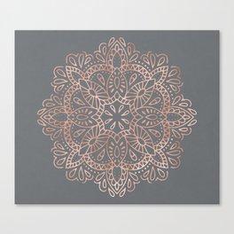 Mandala Rose Gold Pink Shimmer on Soft Gray by Nature Magick Canvas Print