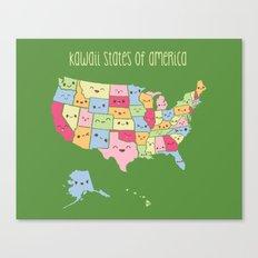 Kawaii States of America Canvas Print